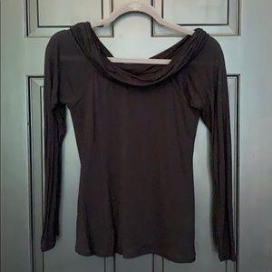 WHBM scowl neck black sheer top medium